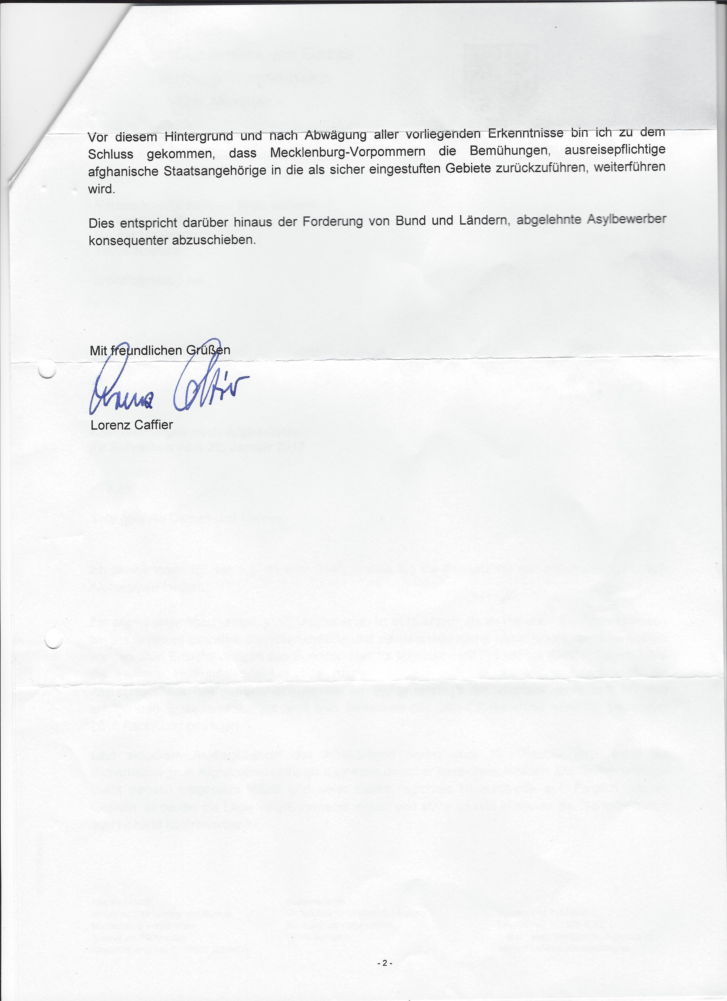 Brief Nach Afghanistan : Herrn caffiers antwort auf den offenen brief ein